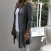 Grey fine cardigan (side view)