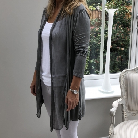 Grey fine cardigan (side view)