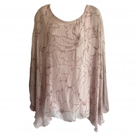 Pink silk blend batwing blouse