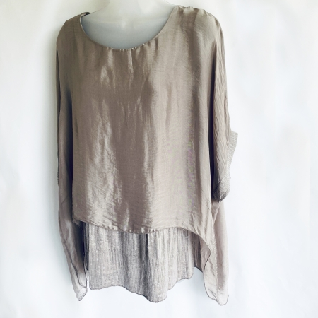 Taupe silk top