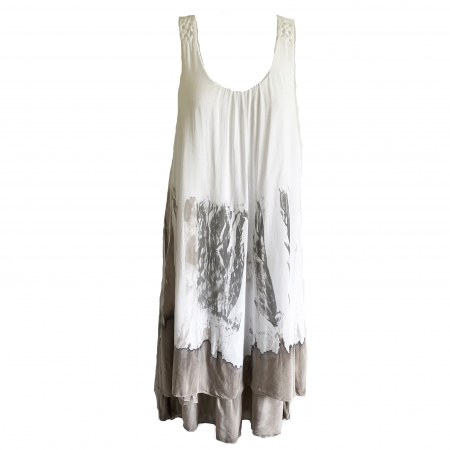 white dress with taupe dip-dye