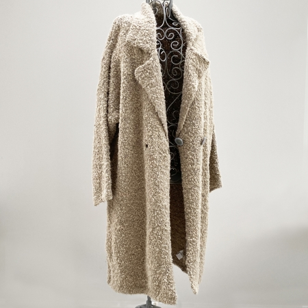Beige full-length knitted jacket