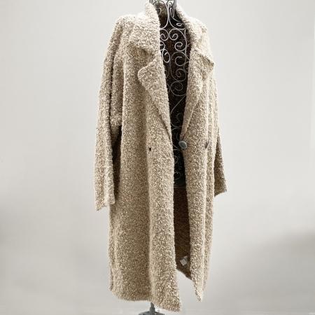 Beige full-length knitted jacket