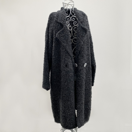 Charcoal grey full-length knitted jacket