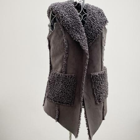 Grey faux sheepskin hooded waistcoat
