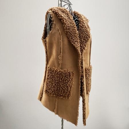 tan faux sheepskin hooded waistcoat