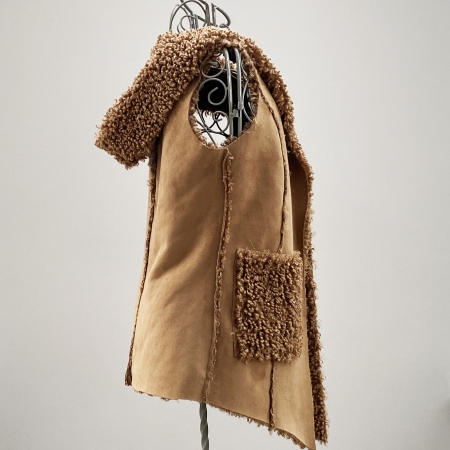 Tan faux sheepskin hooded waistcoat