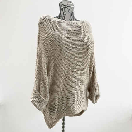 Beige chunky knit batwing jumper