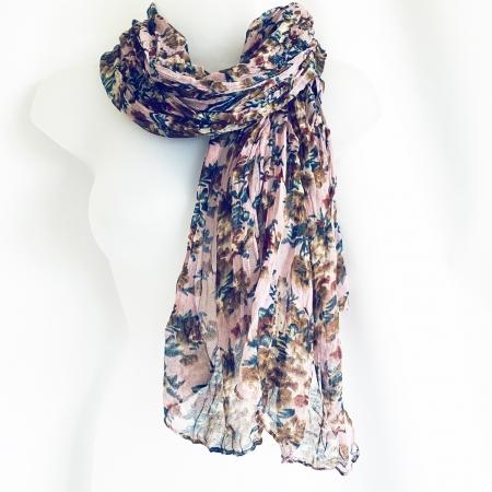 Dusky pink floral crinkle scarf
