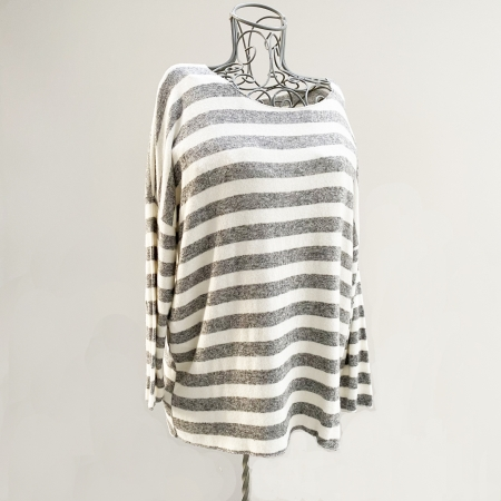 Grey and white striped jumper