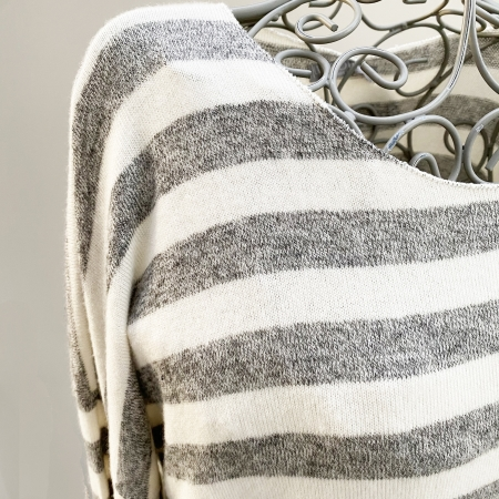 Grey and white striped jumper (detail)