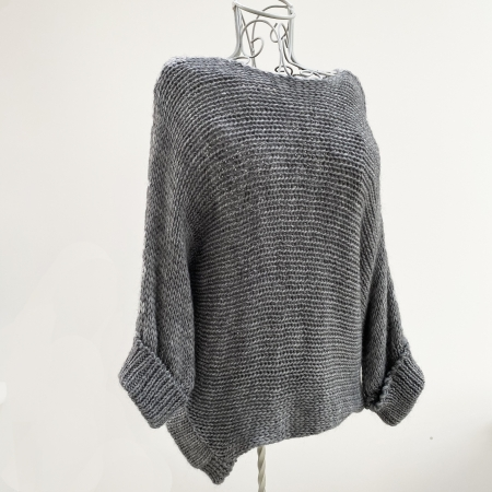 Grey chunky knit batwing jumper