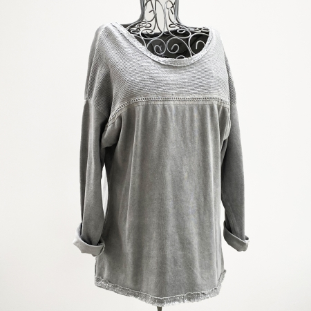 Grey lurex braid sweatshirt