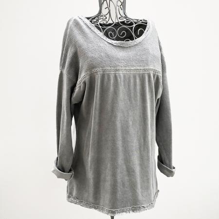 Grey lurex braid sweatshirt