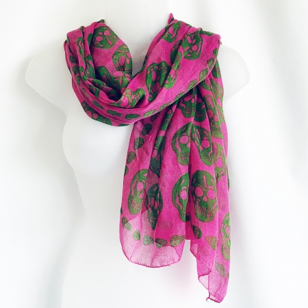 Pink and green skull scarf