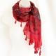 Red tassel-trim scarf