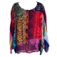 Hippie patchwork long-sleeved top