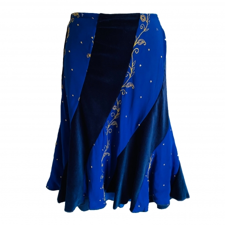 Blue panelled hippie skirt