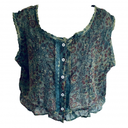 Boho green floral laced-back top