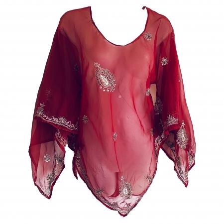 Burgundy Sari Fabric Top