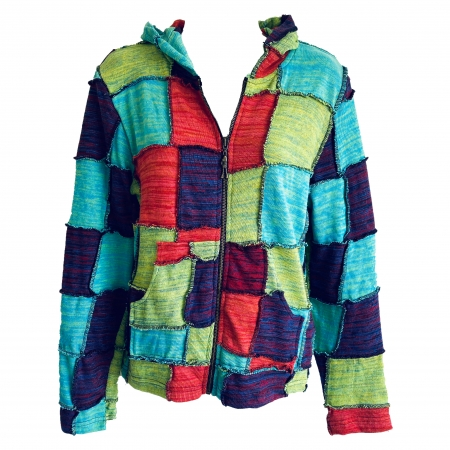Hippie patchwork knitted jacket
