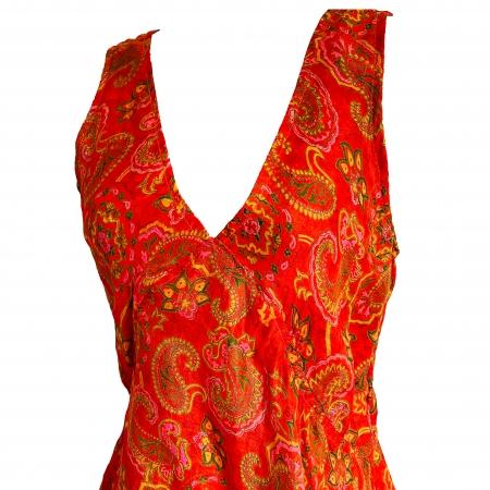 """Orange silk """"Nomads"""" top (detail)"""