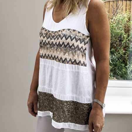 white top with brown sequin bands