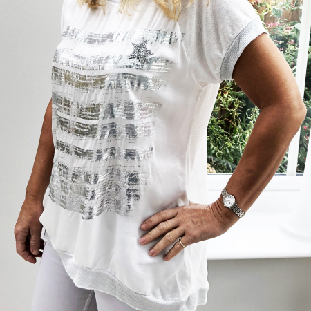 white silver front t-shirt