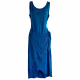 Blue wrap front midi dress