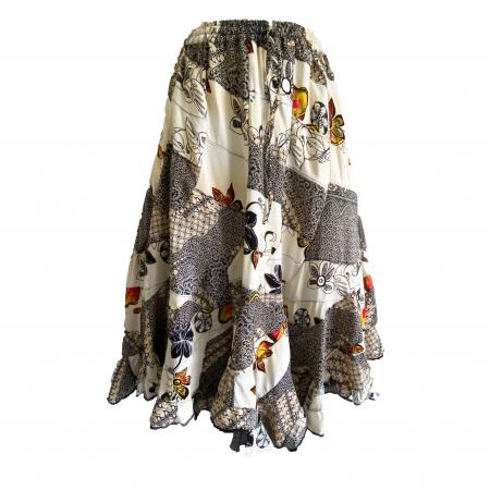 Cream and black patchwork hippie skirt